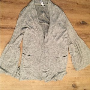 Bell sleeve open front cardigan with pockets
